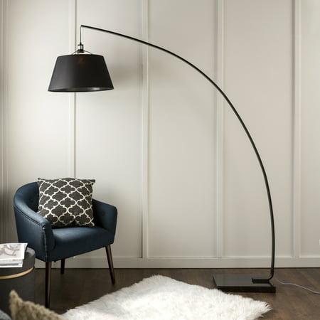 Walker Edison Mid Century Modern Flex Arch Floor Light Lamp Black