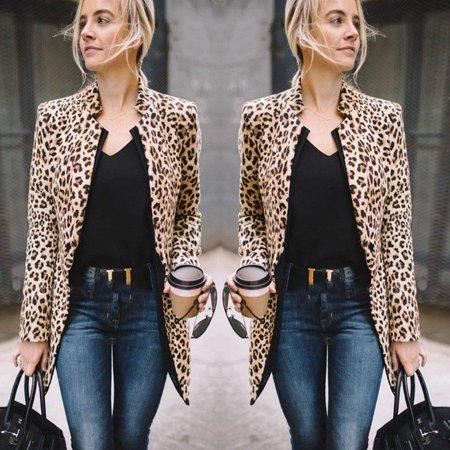 Women's Long Sleeve Blazer Cardigan Tops Leopard Print Coat Jackets Formal Suit