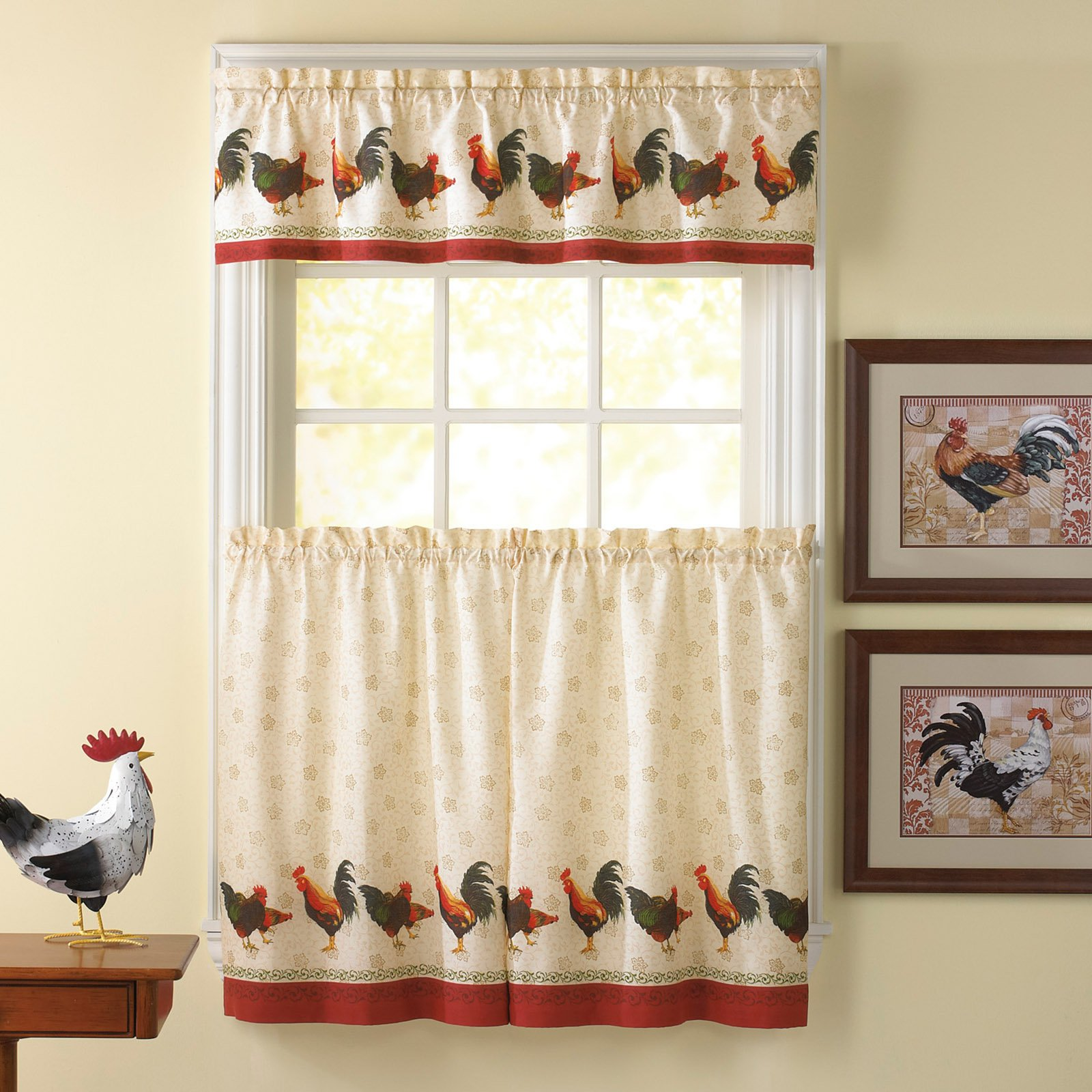 Fabulous CHF Industries Morning Rooster 36 in. Kitchen Curtain Set  XX59