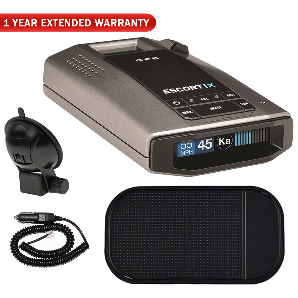 Escort iX Long Range Radar Laser Detector With Oled Display (0100028-1) with Car Mat Bundle + 1 Year Extended Warranty