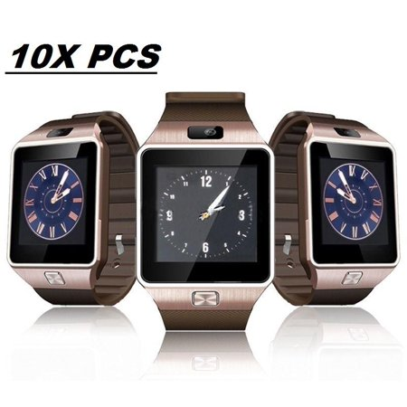 10 Pack DZ-09 Gold Smart Watch Wholesale Lot Touch Screen Bluetooth Smart  Wrist Watch - Supports SIM + Memory Card
