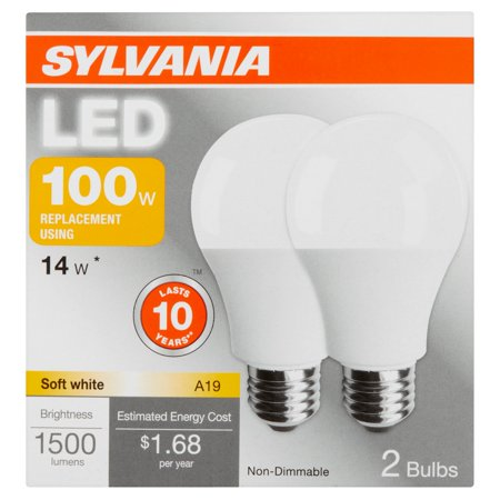 Sylvania LED 100W Equivalent A19 Light Bulbs, 2pk