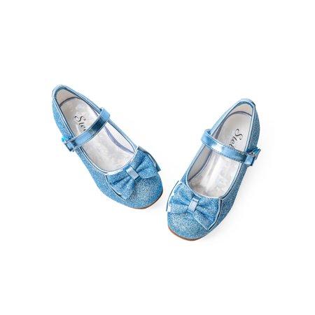 Stelle Now Girls Mary Jane Flat Glitter Shoe Low Heel Princess, Elsa Blue, 7MT ()