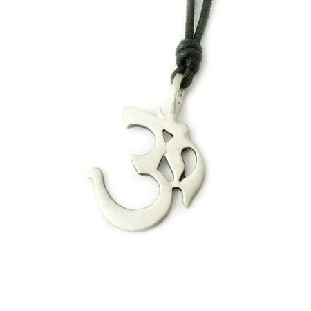 New Ohm Word Hindu Symbol Silver Pewter Charm Necklace Pendant Jewelry With Cotton Cord