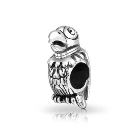 Polly Tropical Bird Parrot Charm Bead For Women For Teen Oxidized 925 Sterling Silver Fits European Charm Bracelet