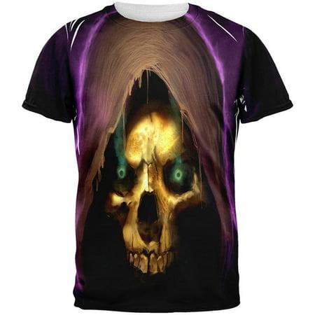 Halloween Grim Reaper All Over Adult T-Shirt (Halloween Grim Reaper Cartoon)