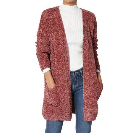 TheMogan Women's PLUS Patch Pocket Soft Cable Knit Open Front Sweater Cardigan Cable Knit Cardigan Sweater
