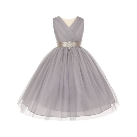 Little Girls Silver Pleated Rhinestone Brooch Tulle Flower Girl Dress 4 - Girls Silver Dresses