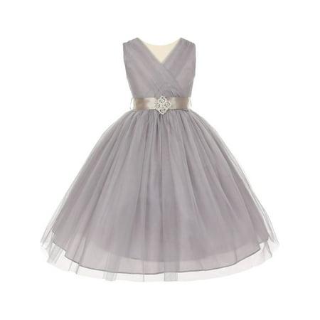 Little Girls Silver Pleated Rhinestone Brooch Tulle Flower Girl Dress - Silver Little Girl Dresses
