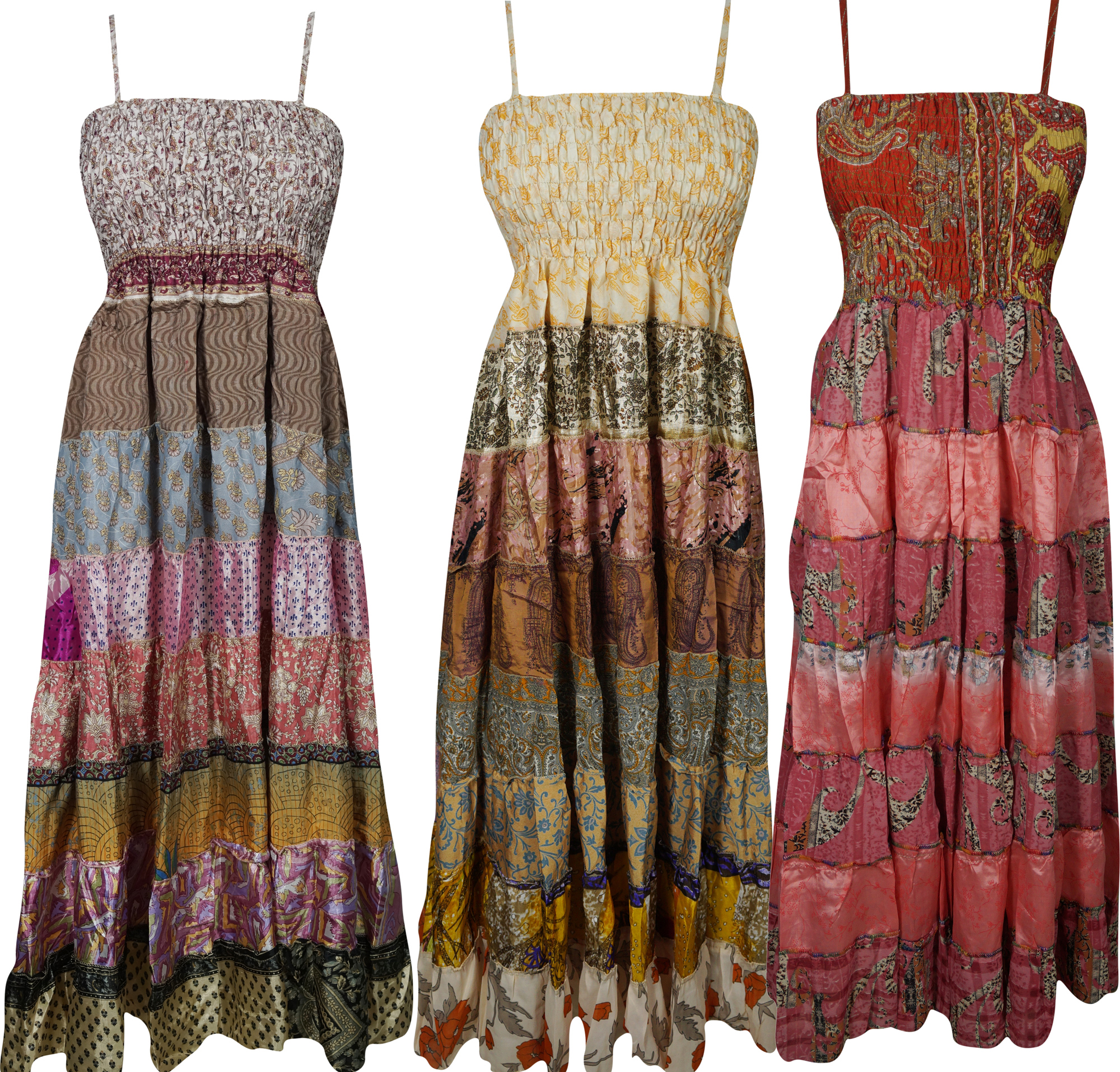 Mogul Womens Wholesale Lot Of 3 Pcs Maxi Dress Recycled Vintage Sari Patchwork Printed Strappy Holiday Sundress