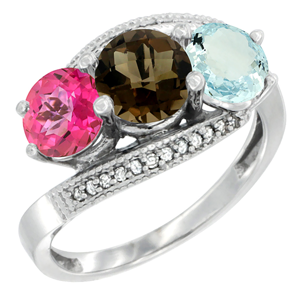 14K White Gold Natural Pink Topaz, Smoky Topaz & Aquamarine 3 stone Ring Round 6mm Diamond Accent, size 5 by Gabriella Gold