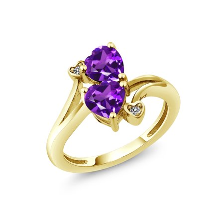 1.33 Ct Heart Shape Purple Amethyst 18K Yellow Gold Plated Silver Ring