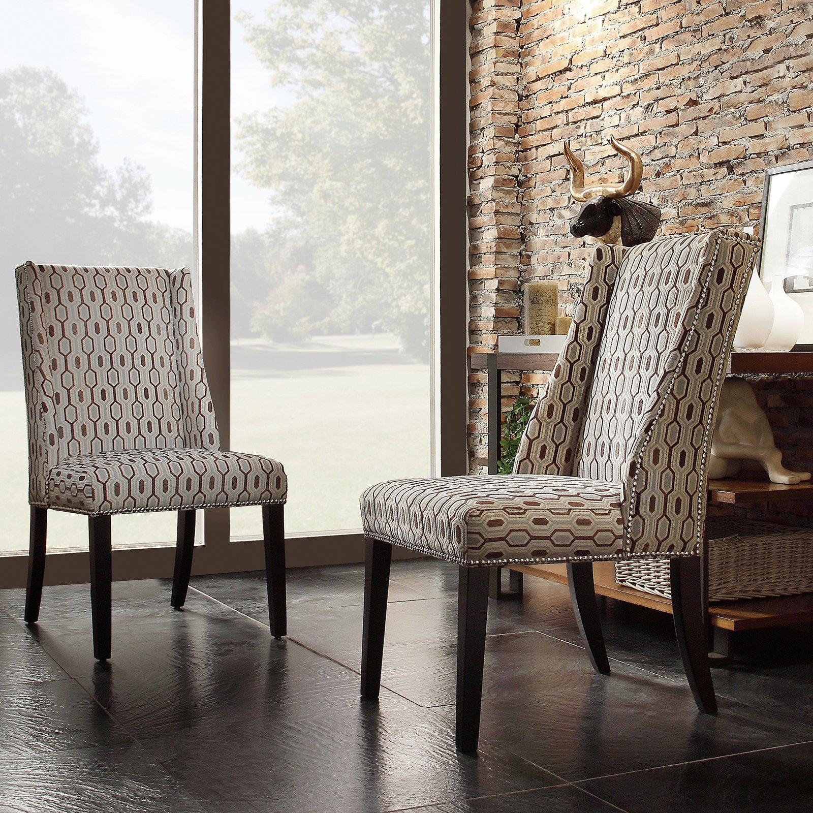 Chelsea Lane Blue Hexagon Print Fabric Wingback with Nailhead Accent Chair  - Set of 2 - Walmart.com