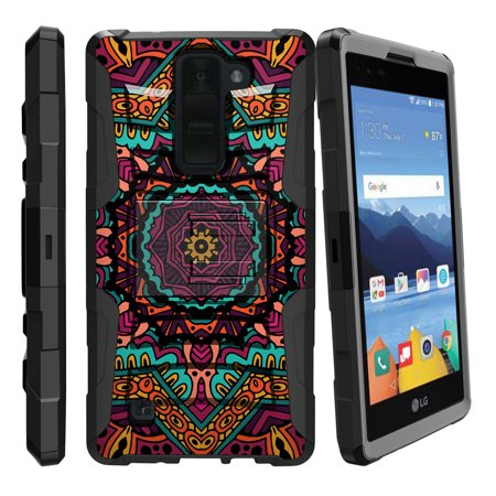 LG K8V and VS500 Miniturtle® Clip Armor Dual Layer Case Rugged Exterior with Built in Kickstand + Holster - Kaleidoscope