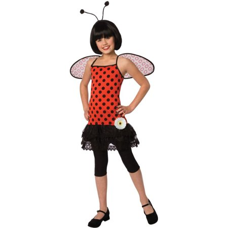 Morris Costumes Love Bug Adorable polka dot dress with attached petti skirt, flower embellishment, wings and antennae headband Large, Style LF3037CLG for $<!---->