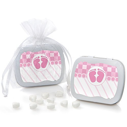 Baby Feet Pink - Mint Tin Baby Shower Party Favors (set o...