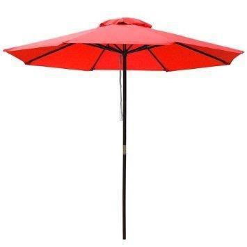 elegant design 9' wooden exclusive red outdoor pulley umbrella patio shade market garden yard beach ()