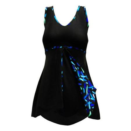 Deep Blue Womens Black Streamers Peek-A-Boo Print One Piece Swim Dress