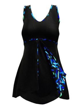 2db28903d01 Product Image Deep Blue Womens Black Streamers Peek-A-Boo Print One Piece  Swim Dress
