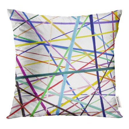 ECCOT Straight But Colorful Lines are Placed Overlapping Each Other Like Pixel Pick Up Sticks Pillow Case Pillow Cover 18x18 inch](Ginger Pick Up Lines)