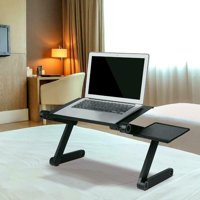 Multifunctional Portable Folding Table, Adjustable Folding Laptop Table TV Tray 360-Degree Rotation with Fan & Mouse, for Indoor, Outdoor, Picnic, Party Camping