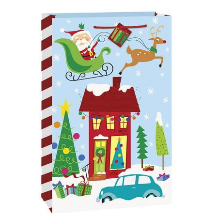 Large Colorful Santa Christmas Gift Bag, 18 x 13 in, - Large Plastic Christmas Bags