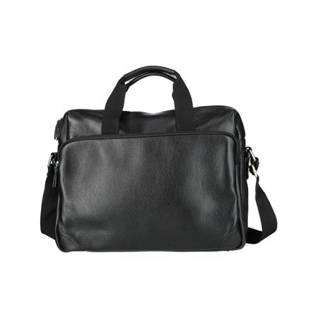 648ff5e0f36a Size one size Men's Leather Slim Briefcase with Laptop Compartment, Black