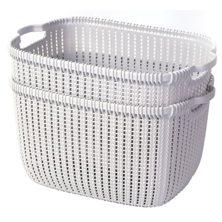 Plastic Wicker Basket Grey Large, Set of - Wicker Storage Baskets