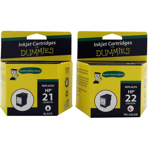 For Dummies - Remanufactured 21/22 Black and Tri-color Combo Inkjet Cartridge (C9509FN) 2 Pack