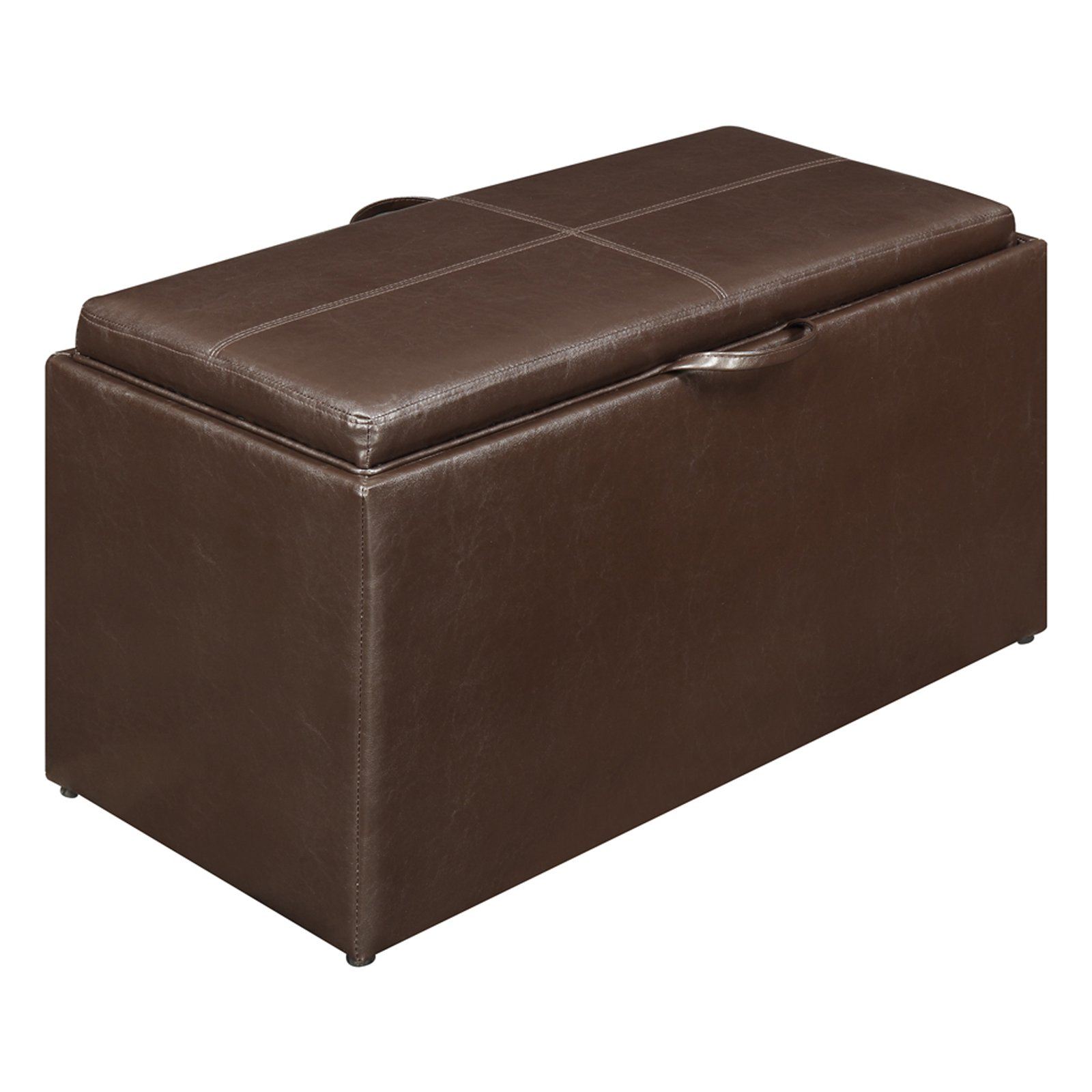 Designs4Comfort Faux Leather Storage Bench with 4 Collapsible Ottomans, Espresso