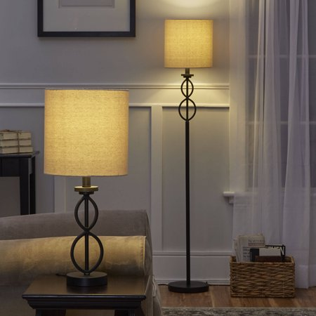 Mainstays table and floor lamp set black matte finish walmart aloadofball Image collections