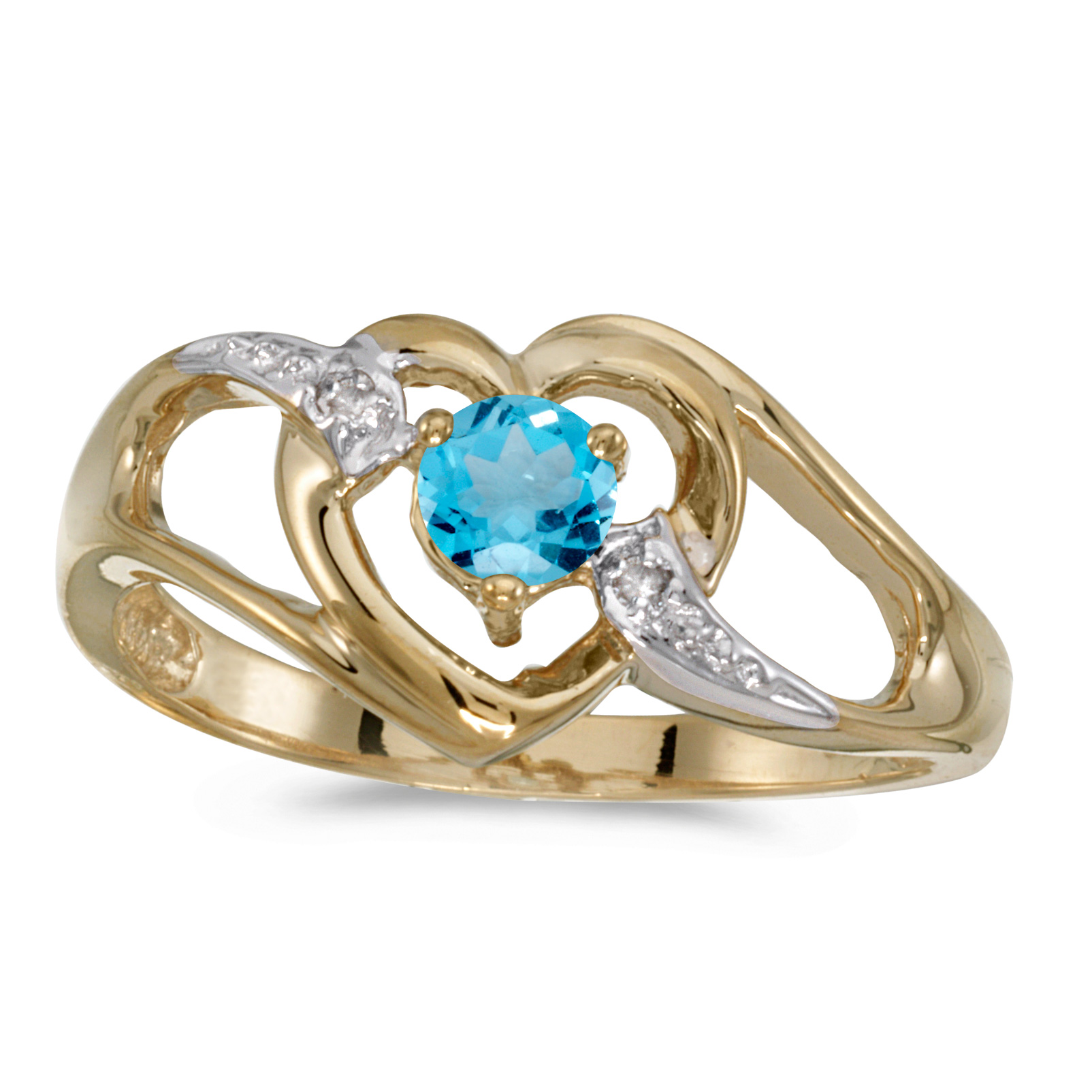 10k Yellow Gold Round Blue Topaz And Diamond Heart Ring by