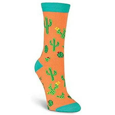 Women's Crew Socks - K Bell - Cactus  Coral (Kaktus Clothing)