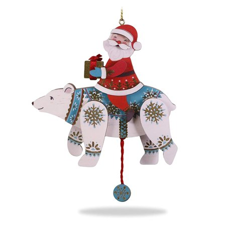 Polar Bear Ornament (Hallmark Keepsake Christmas Ornament 2018 Year Dated, Pull-String Polar Bear and Santa, Wood)