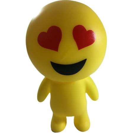 Yellow Heart Eyes Emoticon Emoji Squeaky Squeeze Figure Relief Toy - Heart Emojicon