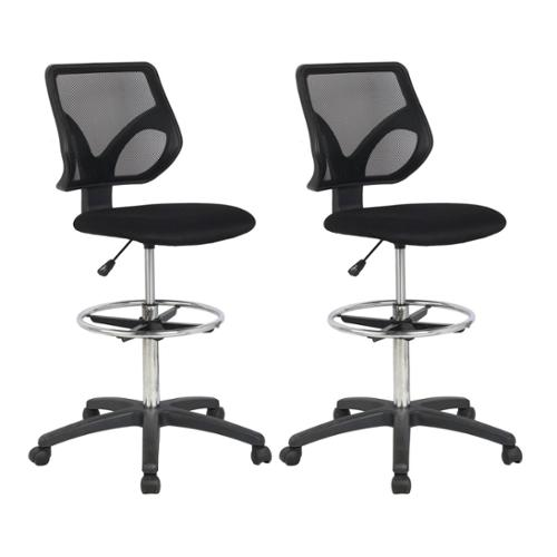 (2) Cool Living Mesh Back Adjustable Height Desk Stool Drafting Office Chairs