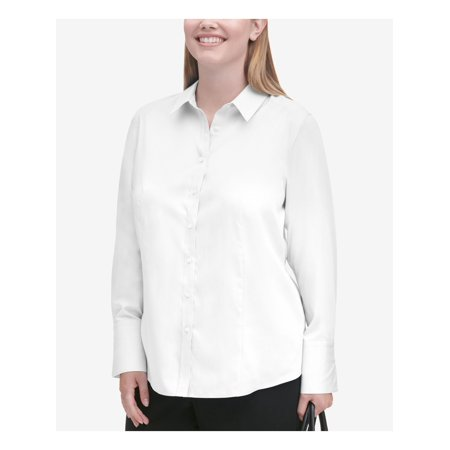 CALVIN KLEIN Womens White Long Sleeve Collared Button Up Top Size 16W
