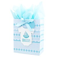 Hallmark Large Gift Bag with Tissue Paper for Baby Showers, First Birthdays, New Moms and More (B is for Boy)