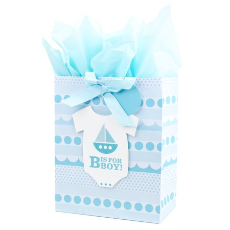 Hallmark Large Gift Bag with Tissue Paper for Baby Showers, First Birthdays, New Moms and More (B is for