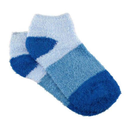 BambooMN - Women's Small Super Aloe Infused Fuzzy Nylon Socks (3 Pairs) - Blueberry