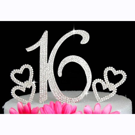 16th Birthday Cake Topper Sweet Sixteen Bling Birthday Caketop with Hearts Cake Picks - 16th Birthday Cake Ideas