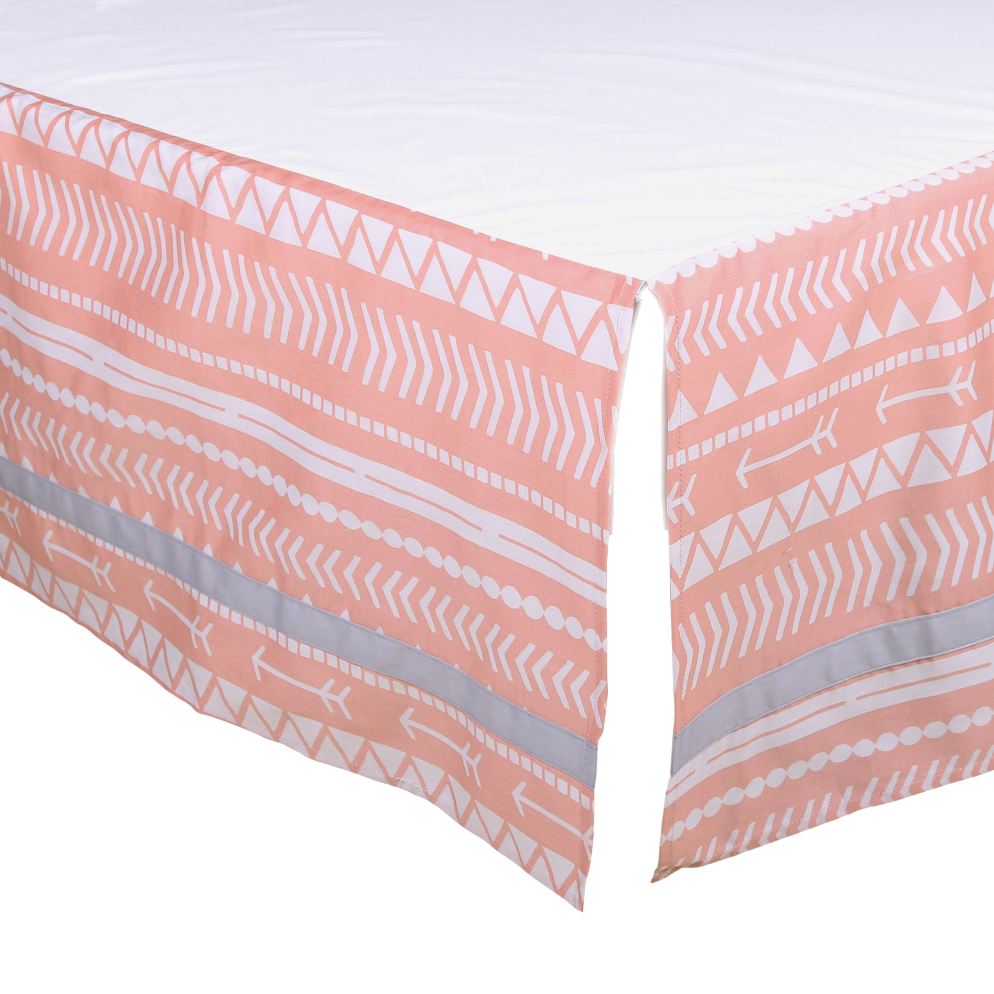 The Peanut Shell Tailored Crib Skirt - Coral Pink Native American Tribal Geometric Design - 100% Cotton Sateen 14 Inch Drop, Standard Crib