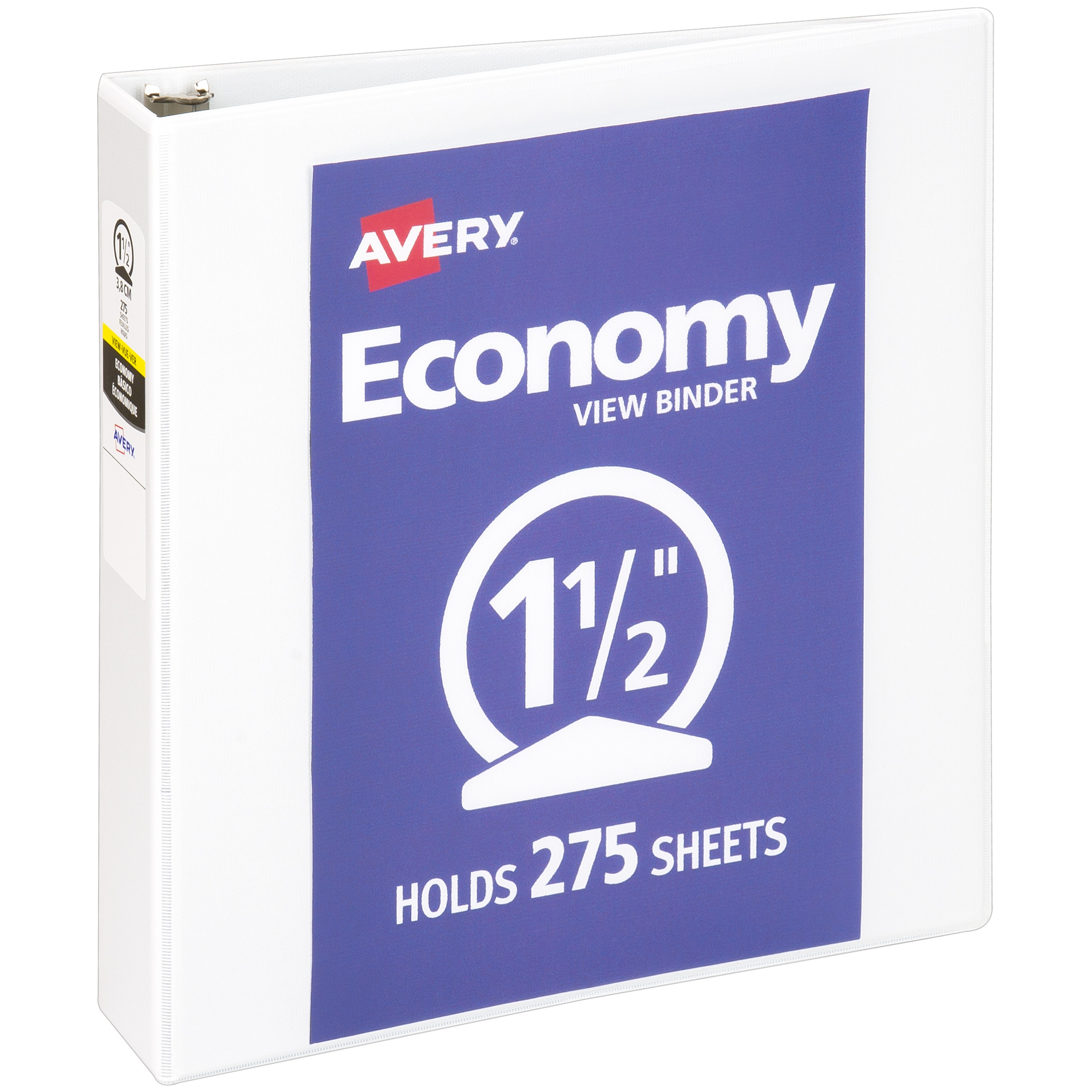 "Avery 1-1/2"" Economy View Binder, Round Rings, White, 275 Sheets"