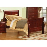 """Bowery Hill Wood Full Sleigh Bed in Cherry with Headboard an Footboard 90"""" x 62"""" x 47""""H"""