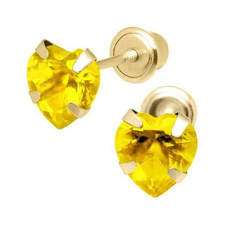 Jewelry 14K Yellow Gold 5mm Cubic Zirconia Heart November Birthstone Stud Screwback Earrings - image 1 of 1