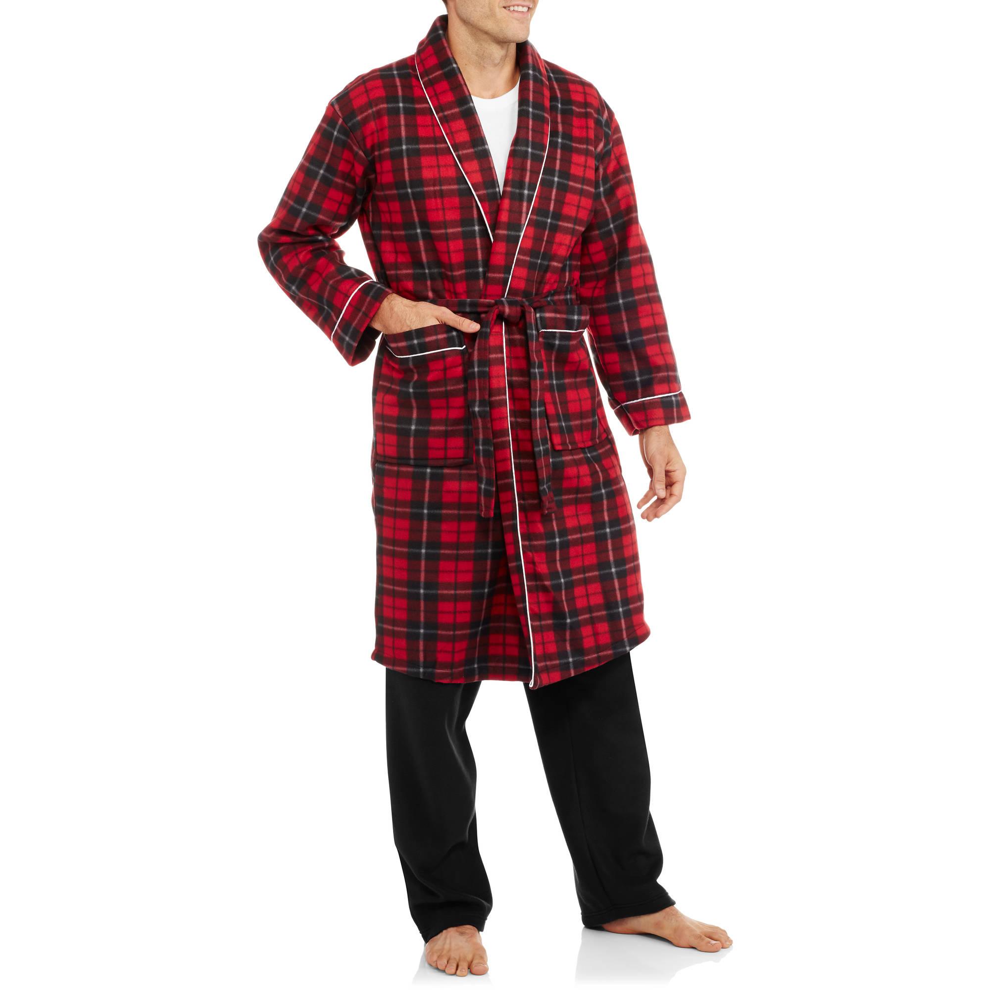 Men's Plaid Printed Polar Fleece Robe