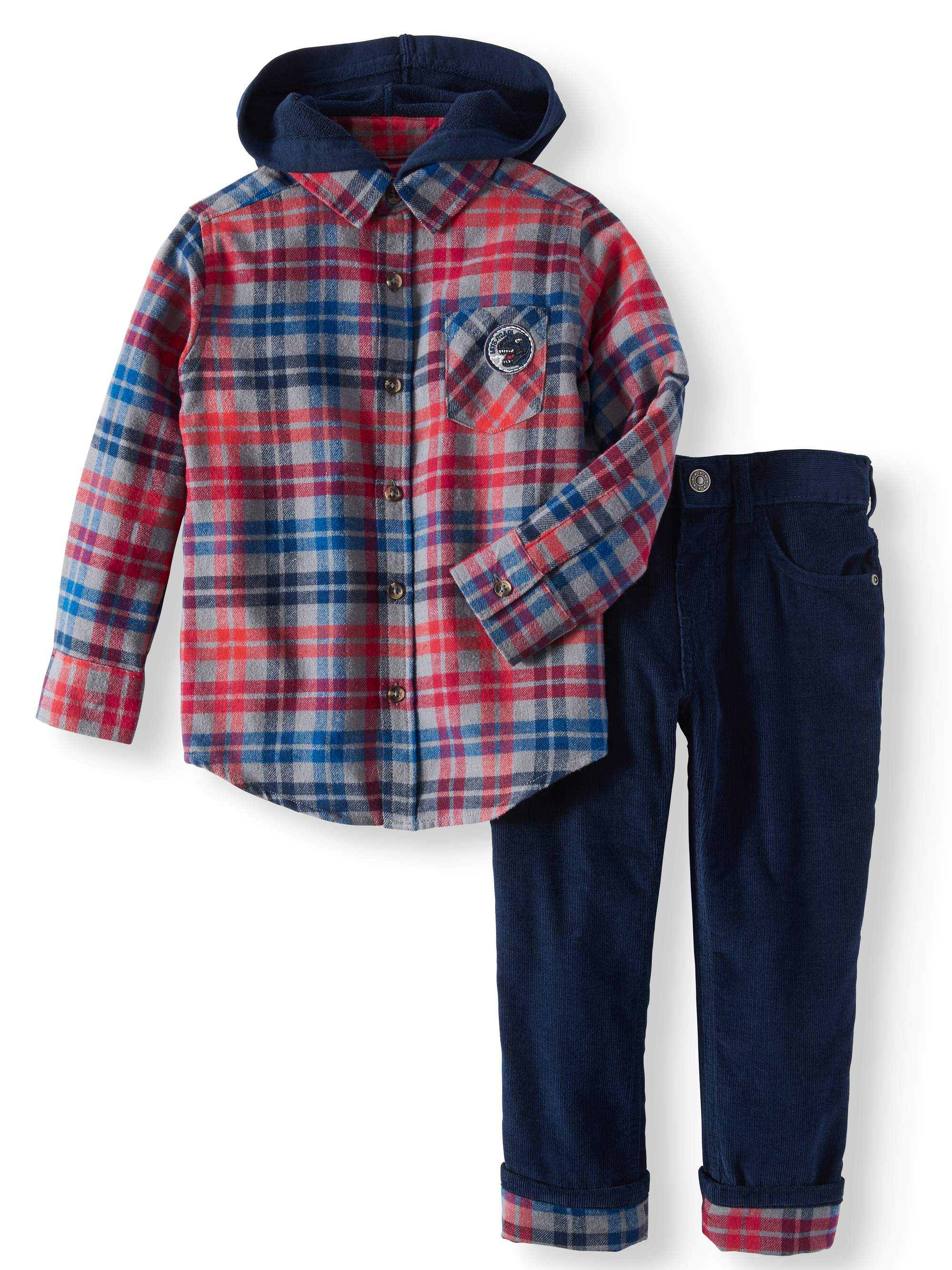 Flannel Hoodie & Corduroy Pants, 2pc Outfit Set (Little Boys & Big Boys)