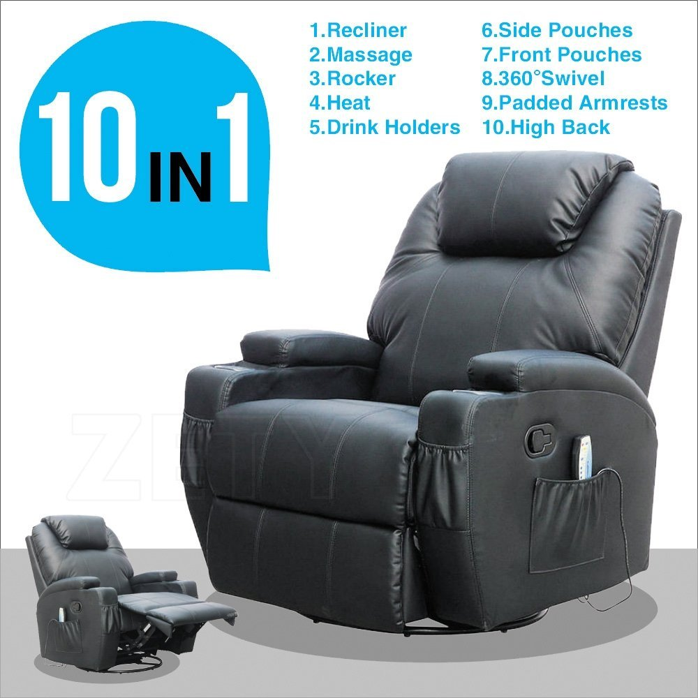 Uenjoy Black Massage Sofa Chair Recliner Ergonomic Lounge Swivel Heated W/Control