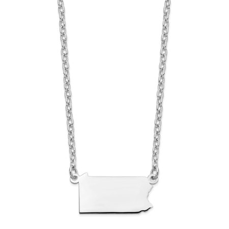 14k White Gold PA State Pendant with chain 14k White Gold Statue