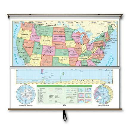 Universal Map Essential Wall Map Combo   U S    World